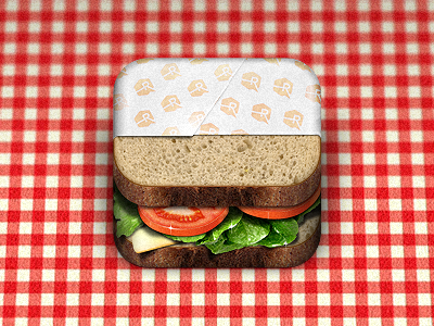 Sandwich iOS icon app sandwich tomato lettuce swiss cheese bread wheat wrapped ios icon iphone ipad apple photo picnic