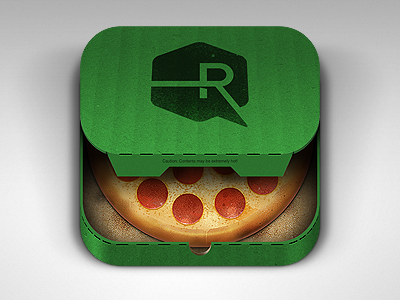 Pizza App iOS Icon pizza pepperoni app ios iphone ipad apple cheese crust box soggy