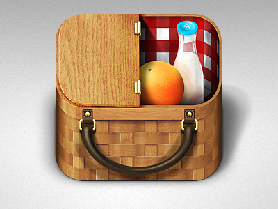 Basket App Icon iphone apple ipad app picnic basket orange milk ios