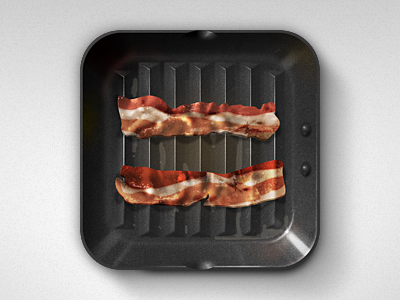 Bacon Diet App Icon bacon grease grill frying pan sizzle iphone ipad apple ios android
