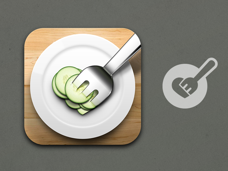 New Fork ios app icon food fork cucumber plate cutting board wood metal metallic vegetable water porcelain eat dinner