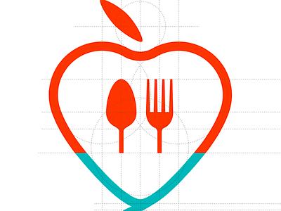 Medical logo heart student apple food medical logo