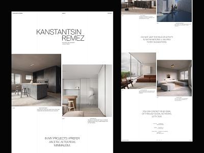Kanstantin Remez - Website NO.2 ux website branding minimal flat white web visual design ui ux typography photography layout interrior grid clean black architecture 2020