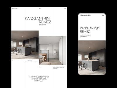Kanstantin Remez - Website NO.3 white website web visual design ux ui typography photography minimal layout interrior grid flat clean branding black architecture