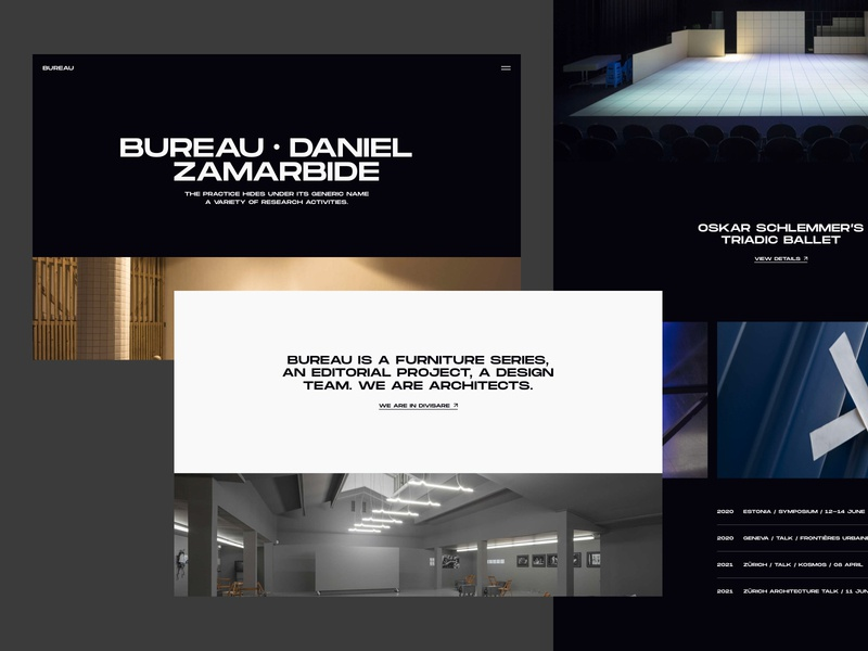 Bureau - Website NO.3 2020 design white website web visual design ui ux typography photography minimal layout interrior grid flat clean branding black architecture