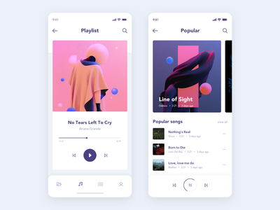 Music App photo typography clean rounded white purple ux ui app