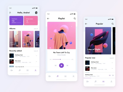 Music App #2 typogaphy ux rounded music white pink purple photo clean app web ui