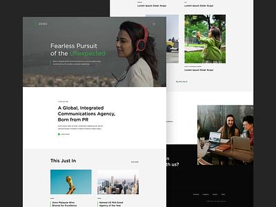 Zeno - PR Agency Website video layout creative design website portfolio green after effect animation clean web ui