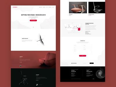 Okamura - Furniture Company Landing Page black red branding creative portfolio layout landing furniture design illustration clean web ui