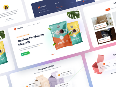 Cettakin Landing Page landing page product vector gradient glass effect clean sales packaging