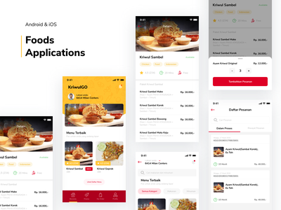 Kriwul GO - Food App tags tab bottom sheet popup dashboard detail product clean kriwul red yellow lunch delivery beverage food mobile ui