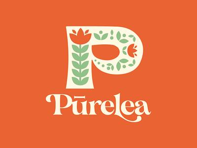 Tea Concept branding logo flower folk art tea