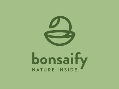 Bonsaify branding logo nature leaf sprout tree bonsai