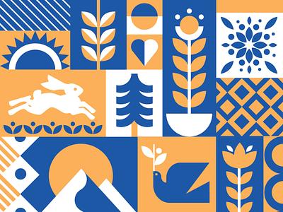 Folk Pattern geometric mountain sunset bunny dove flower pattern folk art