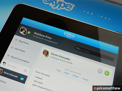 Skype iPad Concept skype ipad mobile concept touch itouch pad tabs notifications system saas dashboard friends circles user chat discussion box blue bright clean bubble apple tablet design