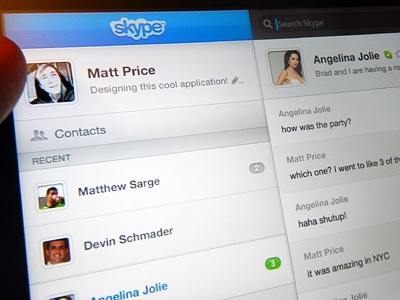Skype iPad 2nd Try skype ipad mobile concept touch itouch pad tabs notifications system saas dashboard friends circles user chat discussion box blue bright clean bubble apple tablet design