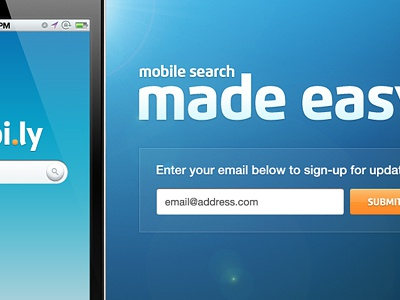 Mobile App LP mobile iphone phone ios landing lander page welcome message heading title email submit signup sign up sign up button register registration blue