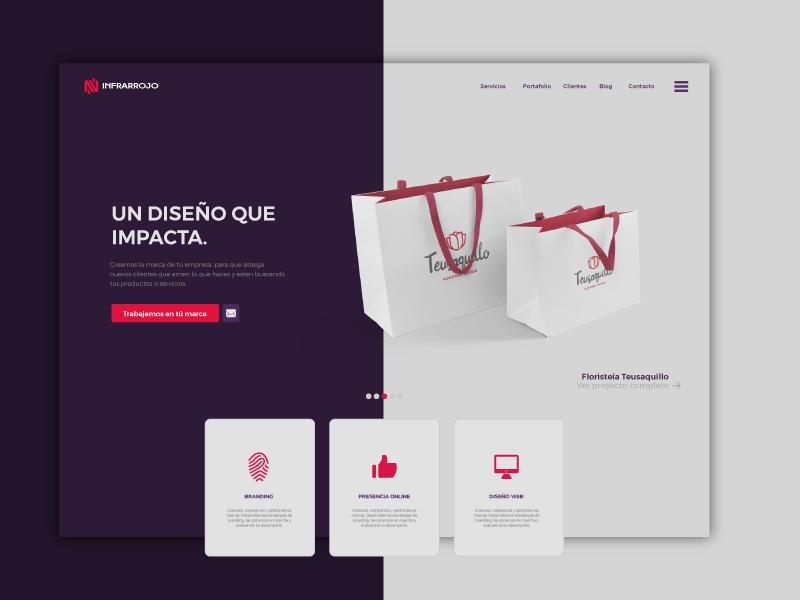 Infrarrojo Estudio Web landing interface layout website web deisgn ux iu agency bag web design