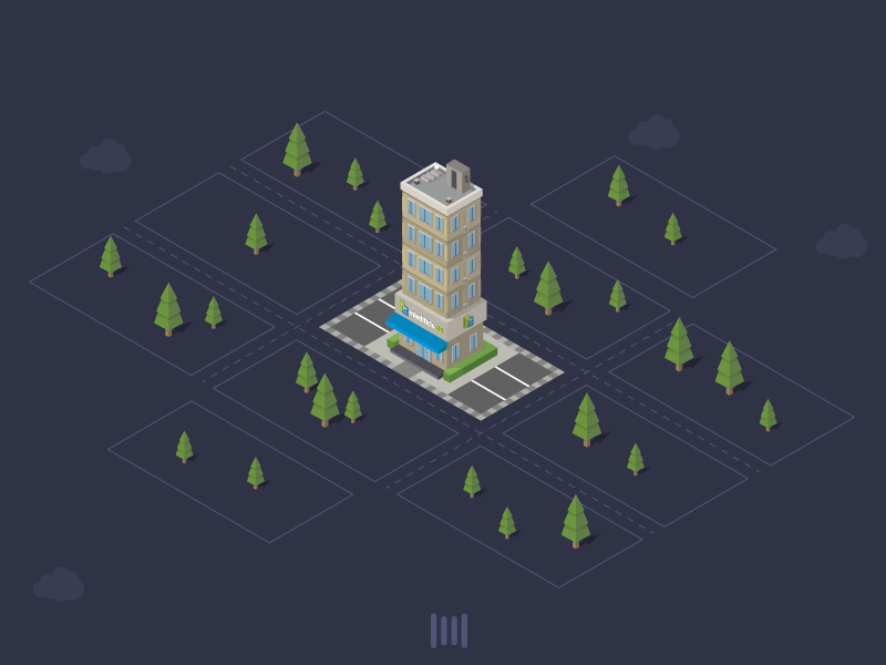 Isometric City icon color illustration iso ui app game city isometric 3d