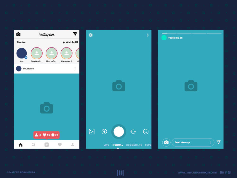 INSTAGRAM STORIES FREE INTERFACE by Marcus Rosanegra on Dribbble