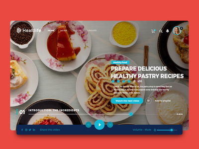 Daily IU 003 - Healthy pastry Elearning dailyui inspire healthy food elearning challenge creativity home page website web desgin ux-ui design app design landing page web pastry cake ui uidesign daily challange inspiration