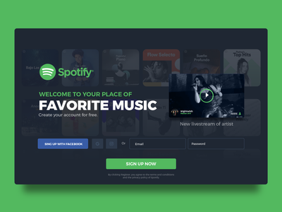 Daily IU 001 - Sign Up concept for Spotify sign up music app music user interface design web design user interface uidesign 100 day ui design challenge 100 day ui challenge 100 day challenge 100 daily ui daily ui 001 daily ui daily 100 ui web ux graphic design design inspiration