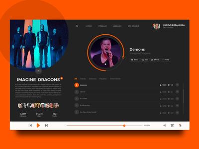 Music player concept for Soundcloud music player app ux ui imagine dragons soundcloud user ux ui design ui ux user daily ui 009 daily ui daily 100 music player ui music player music app music