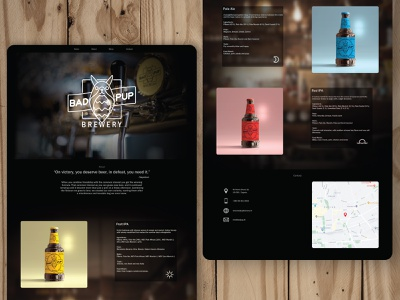 Bad Pup Brewery Home Page product beverage ui logo brewery beer homepage web website branding illustration graphic design design