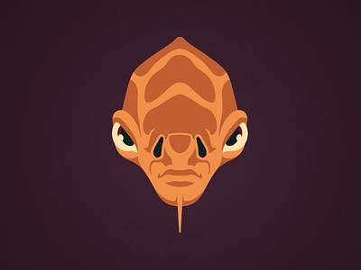 Nahdar Vebb Illustration logo lucasfilm disney design character alien calamari jedi nahdar vebb ackbar clone wars star wars