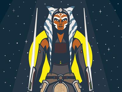 I Am No Jedi - Ahsoka Tano Illustration wars star lightsaber design vectorart vector lucasfilm jedi character illustration disney rebels clone wars star wars ahsokatano ahsoka