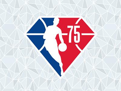 NBA 75 75 anniversary diamond design sports basketball athletics logo nba