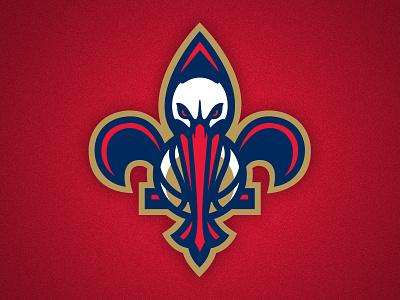 New Orleans Pelicans Secondary Logo logo athletics basketball nba new orleans pelicans bird flower fleur-de-lis