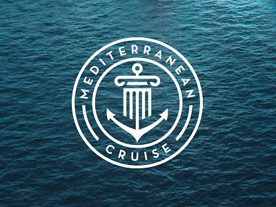 Mediterranean Cruise 2015 logo event roundel anchor column greek mediterranean sea cruise badge