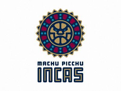 Machu Picchu Incas medallion machu picchu peru face carving sun wfbl sports logo fantasy basketball