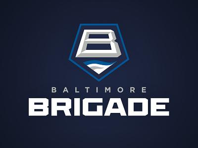 Baltimore Brigade pentagon shield chisel water brigade baltimore athletics football arena