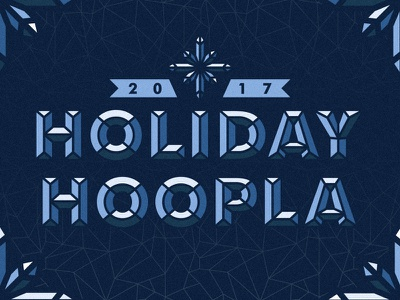 Holiday Hoopla 2017 texture snowflake ice frost crystal bevel logo invitation holiday christmas