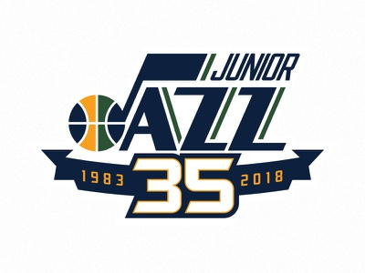 Junior Jazz 35th Anniversary banner anniversary logo program youth utah basketball jazz