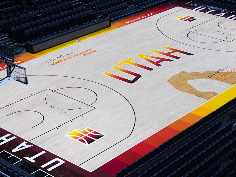 Utah Jazz City Edition Court nba gradient red arches st. george moab southern basketball court city jazz utah