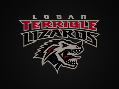Logan Terrible Lizards lightning logan lizard raptor athletics sports dinosaur logo fantasy baskeball