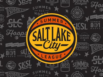 Salt Lake City Summer League league summer retro icon ball lettering salt lake city nba basketball athletics logo