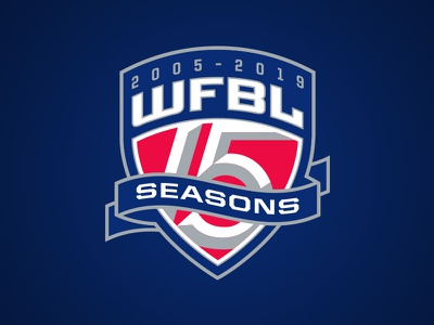 WFBL 15 Seasons Logo hoops crest seasons 15 fantasy sports logo banner athletics anniversary