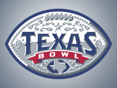 Texas Bowl logo college football bowl texas belt buckle western star flourish silver red blue