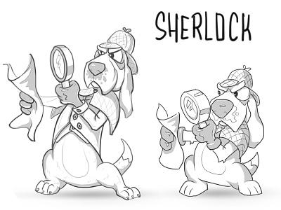 Sherlock dog illustration cartoon character line draw sketch detective dog sherlock