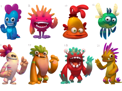 Monster Character Concepts 2d 2d art chatacters game desigm game art concept art concept illustration game