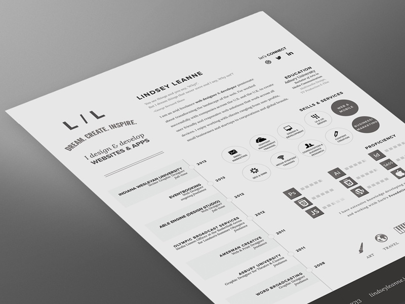 personal resume by lindsey dribbble