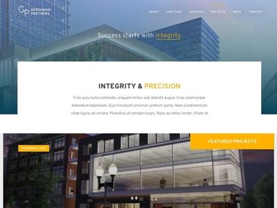 Gershman Partners Website clean commercial buildings yellow blue development builders