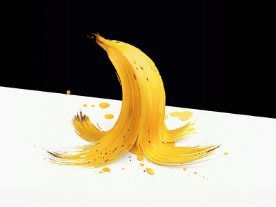 "Objective - ""Banana Splash"" abstract banana illustration artwork art cool square minimal colour color yellow paint"