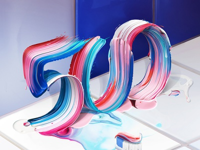 Fortune 500 Cover paintbrush lettering typography type abstract paint toothpaste corporations color illustration editorial fortune500