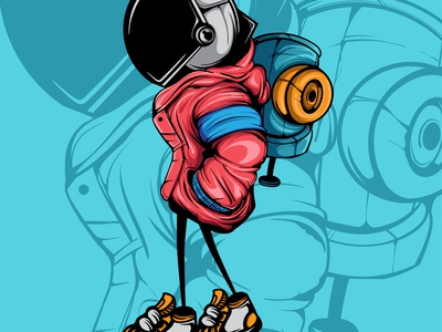 THE ASTRONAUT spay paint drawing doodle spray paint graffiti vector illustration character art