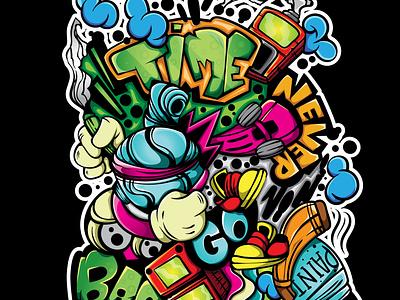 TIME NEVER GO BACK drawing design doodle vector illustration character art
